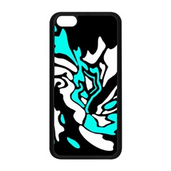 Cyan, Black And White Decor Apple Iphone 5c Seamless Case (black) by Valentinaart