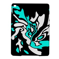 Cyan, Black And White Decor Ipad Air 2 Hardshell Cases by Valentinaart