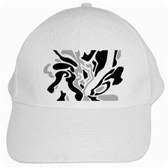 Gray, Black And White Decor White Cap by Valentinaart