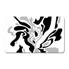 Gray, Black And White Decor Magnet (rectangular) by Valentinaart