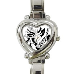 Gray, Black And White Decor Heart Italian Charm Watch by Valentinaart