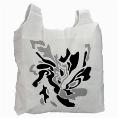 Gray, Black And White Decor Recycle Bag (one Side) by Valentinaart