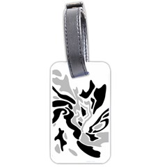 Gray, Black And White Decor Luggage Tags (one Side)  by Valentinaart