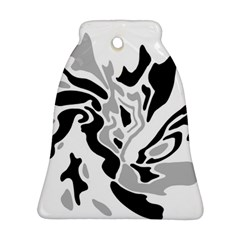 Gray, Black And White Decor Ornament (bell)  by Valentinaart
