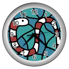 Red Snake Wall Clocks (silver)  by Valentinaart