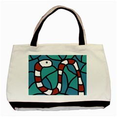 Red Snake Basic Tote Bag by Valentinaart