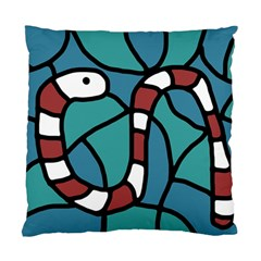 Red Snake Standard Cushion Case (two Sides) by Valentinaart