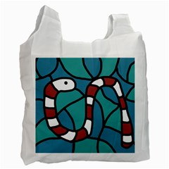Red Snake Recycle Bag (two Side)  by Valentinaart