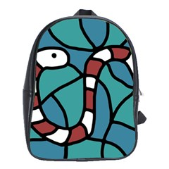 Red Snake School Bags(large)  by Valentinaart