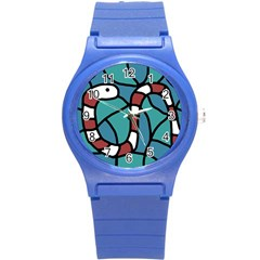 Red Snake Round Plastic Sport Watch (s) by Valentinaart