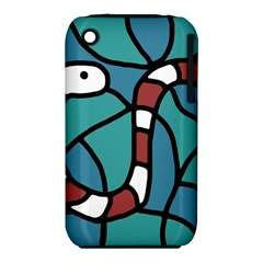 Red Snake Apple Iphone 3g/3gs Hardshell Case (pc+silicone) by Valentinaart