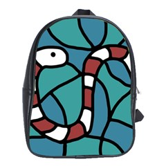 Red Snake School Bags (xl)  by Valentinaart