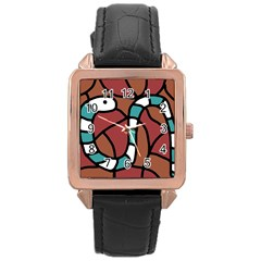 Blue Snake Rose Gold Leather Watch  by Valentinaart