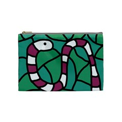 Purple Snake  Cosmetic Bag (medium)  by Valentinaart