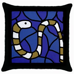 Green Snake Throw Pillow Case (black) by Valentinaart