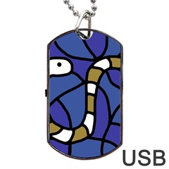 Green Snake Dog Tag Usb Flash (two Sides)  by Valentinaart