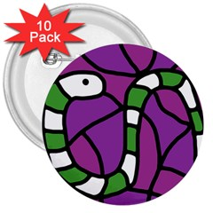 Green Snake 3  Buttons (10 Pack)  by Valentinaart