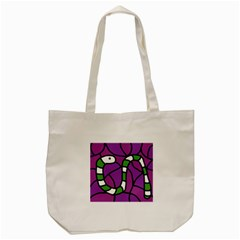 Green Snake Tote Bag (cream) by Valentinaart