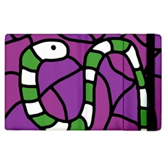 Green Snake Apple Ipad 2 Flip Case by Valentinaart