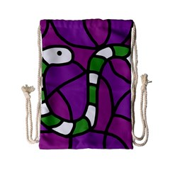 Green Snake Drawstring Bag (small) by Valentinaart