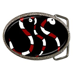 Red Snakes Belt Buckles by Valentinaart