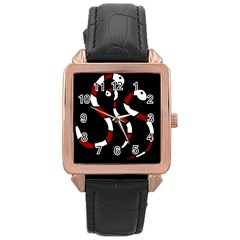 Red Snakes Rose Gold Leather Watch  by Valentinaart