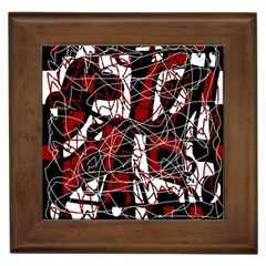 Red Black And White Abstract High Art Framed Tiles by Valentinaart