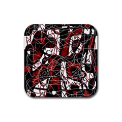 Red Black And White Abstract High Art Rubber Coaster (square)  by Valentinaart