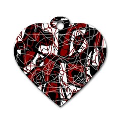 Red Black And White Abstract High Art Dog Tag Heart (one Side) by Valentinaart