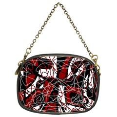 Red Black And White Abstract High Art Chain Purses (one Side)  by Valentinaart