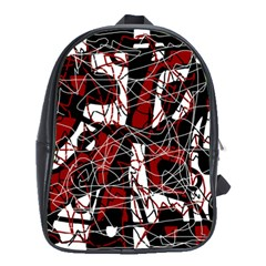 Red Black And White Abstract High Art School Bags (xl)  by Valentinaart