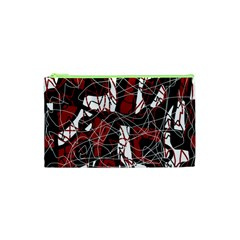 Red Black And White Abstract High Art Cosmetic Bag (xs) by Valentinaart
