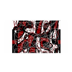 Red Black And White Abstract High Art Satin Wrap by Valentinaart