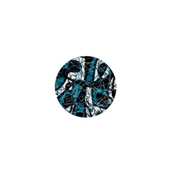 Blue, Black And White Abstract Art 1  Mini Buttons by Valentinaart