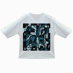 Blue, Black And White Abstract Art Infant/toddler T Shirts by Valentinaart