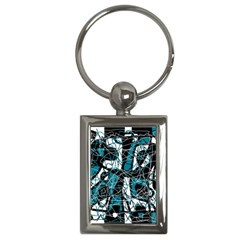 Blue, Black And White Abstract Art Key Chains (rectangle)  by Valentinaart