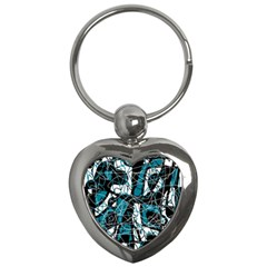 Blue, Black And White Abstract Art Key Chains (heart)  by Valentinaart