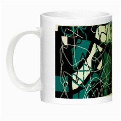 Blue, Black And White Abstract Art Night Luminous Mugs by Valentinaart