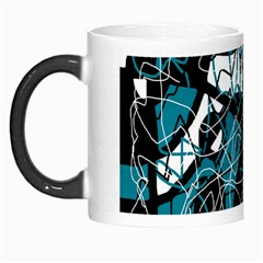 Blue, Black And White Abstract Art Morph Mugs by Valentinaart