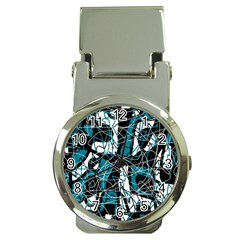 Blue, Black And White Abstract Art Money Clip Watches by Valentinaart