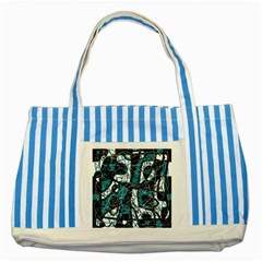 Blue, Black And White Abstract Art Striped Blue Tote Bag by Valentinaart