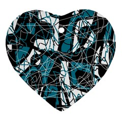 Blue, Black And White Abstract Art Heart Ornament (2 Sides) by Valentinaart
