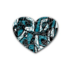 Blue, Black And White Abstract Art Rubber Coaster (heart)  by Valentinaart