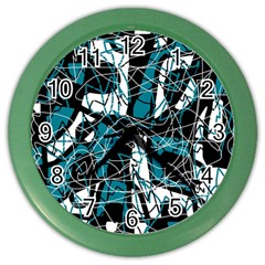 Blue, Black And White Abstract Art Color Wall Clocks by Valentinaart