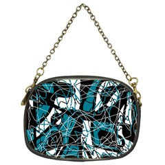 Blue, Black And White Abstract Art Chain Purses (two Sides)  by Valentinaart
