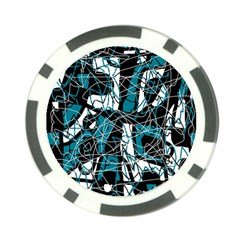 Blue, Black And White Abstract Art Poker Chip Card Guards (10 Pack)  by Valentinaart