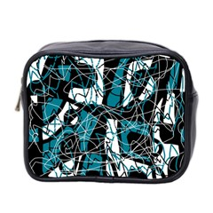 Blue, Black And White Abstract Art Mini Toiletries Bag 2 Side