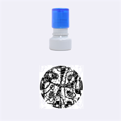 Blue, Black And White Abstract Art Rubber Round Stamps (small) by Valentinaart