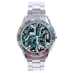 Blue, Black And White Abstract Art Stainless Steel Analogue Watch by Valentinaart