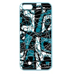 Blue, Black And White Abstract Art Apple Seamless Iphone 5 Case (color) by Valentinaart